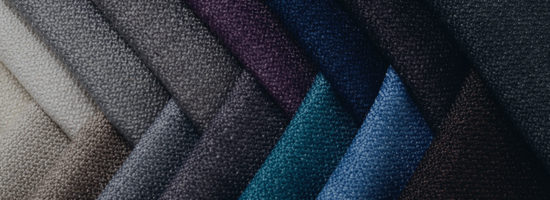 Bright collection of gunny textile samples. Multicolour fabric texture background for textile industry